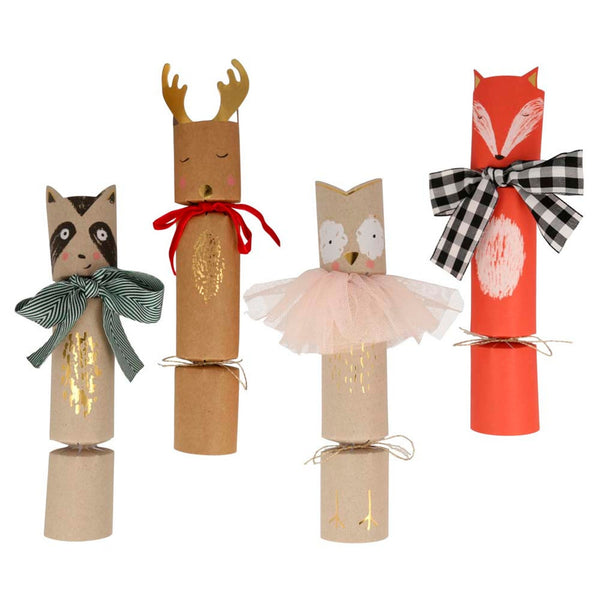 A set of Woodland Holiday Crackers