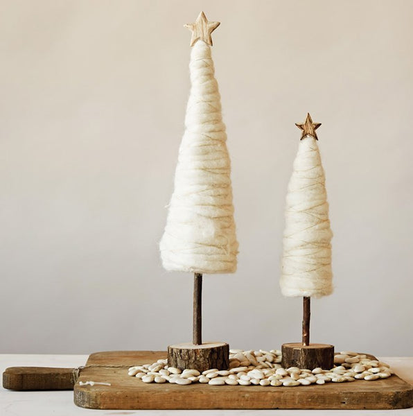 cream wool christmas trees with wood star