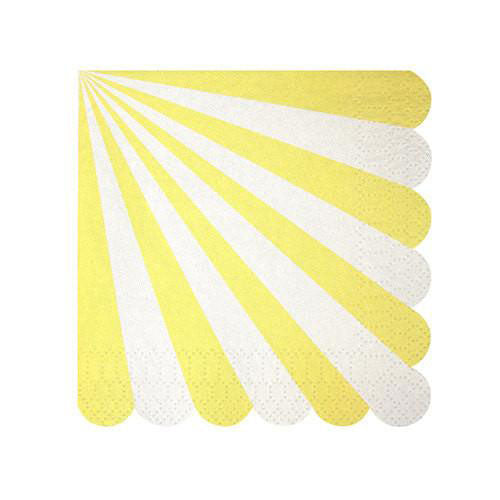 Yellow napkins with stripes scallops.