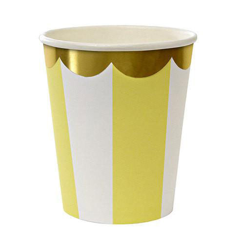 yellow striped cups with gold scallops