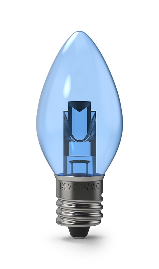 Blue Transparent C7 Light Bulb - Projector Series Bulb by Village Lighting