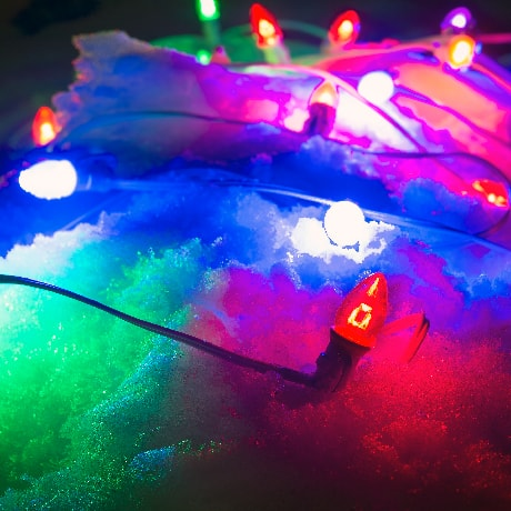 Colored Projector Lens Bulbs in Snow