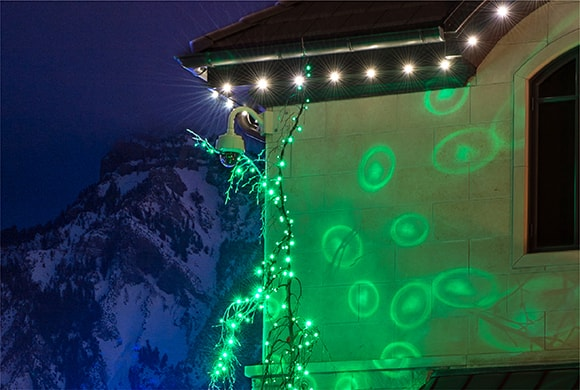 Green super mini lights on trees, showing their spotlight tip effect on the side of a house