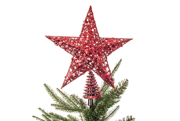 Red Star Tree Topper with Spring Base / Spiral Base