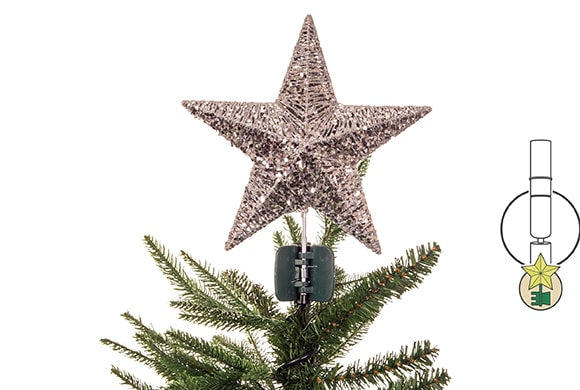 Brown Tan Gold Star Tree Topper with clip Base