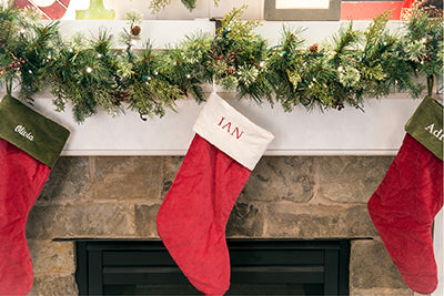 Stocking holder / Fireplace Garland holder in use