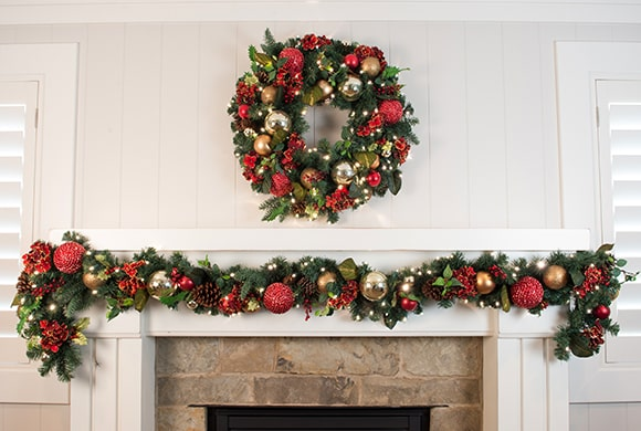 Scarlet Hydrangea Wreath and Garland Hanging Above Fireplace Mantle