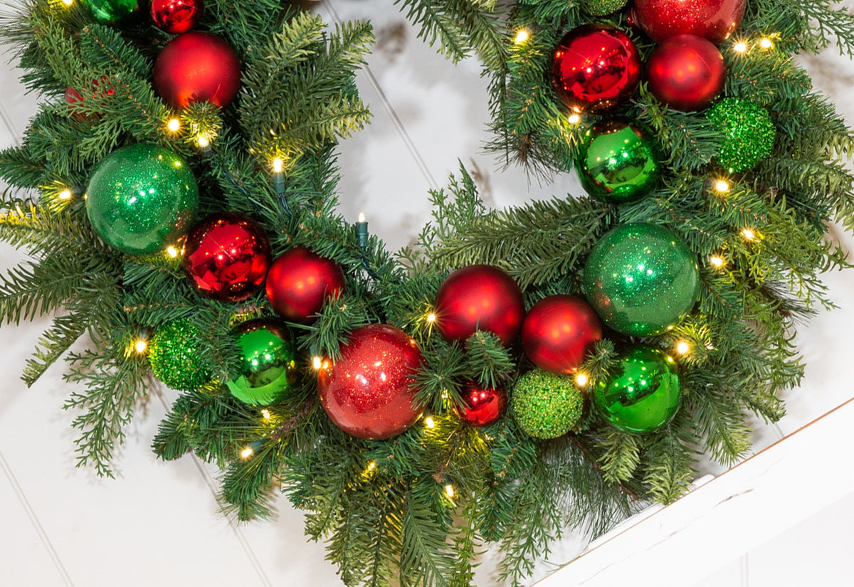 Christmas Cheer Red and Green Wreath - 30