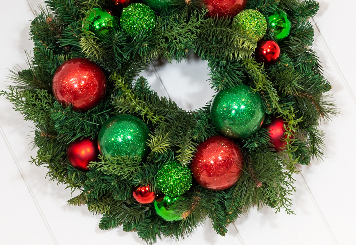 Christmas Cheer Red and Green Wreath - 24