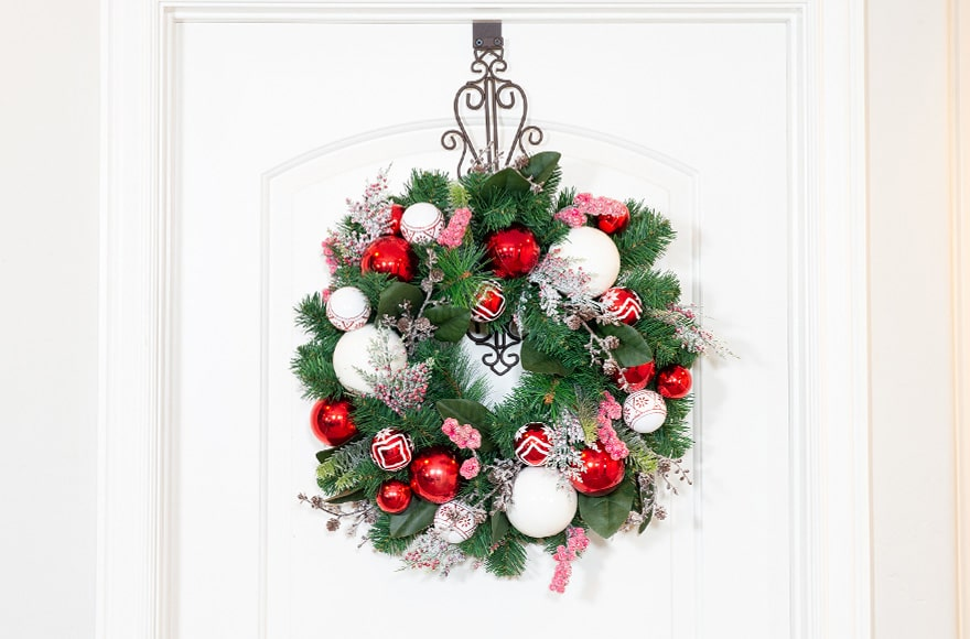 Nordic Wreath Hanging On Front Door