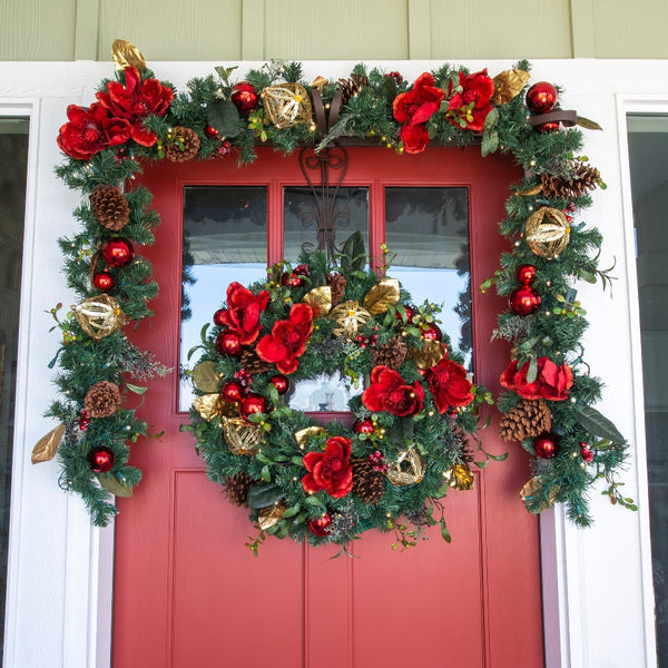 Red Magnolia Decorated Wreath - Village Lighting Company