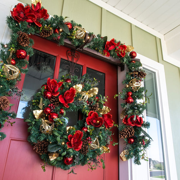 Red Magnolia Decorated Garland - Village Lighting Company