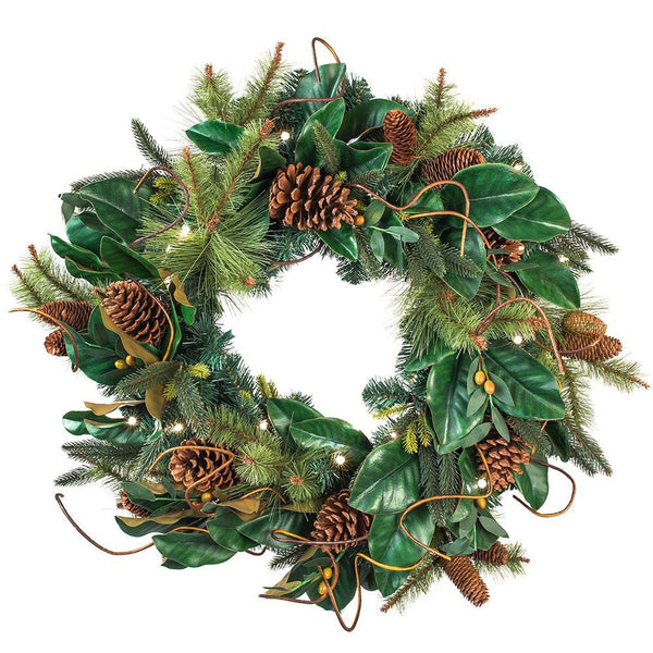 Decorated Wreaths - Magnolia Leaf Decorated Wreath by Village Lighting Company