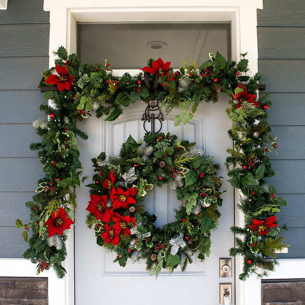 Poinsettia Decorated Wreath - Village Lighting Company
