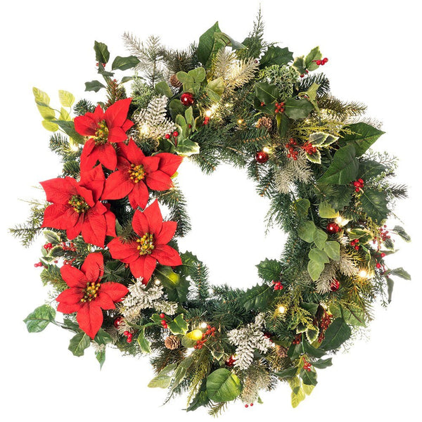 Decorated Wreaths - Poinsettia Decorated Wreath by Village Lighting Company