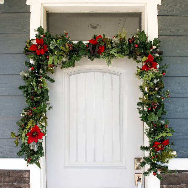 Poinsettia Decorated Garland