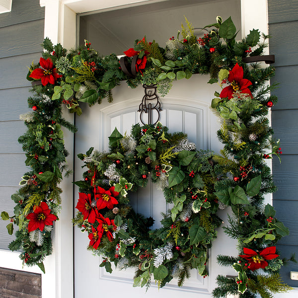 Poinsettia Decorated Garland - Village Lighting Company