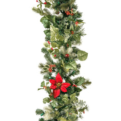 Decorated Garland - Poinsettia Decorated Garland by Village Lighting Company