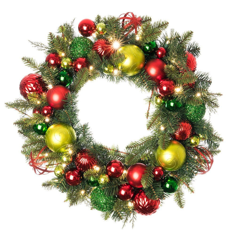 Festive Holiday Decorated Wreath Village Lighting Company