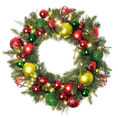 Festive Holiday Decorated Wreath - Village Lighting Company