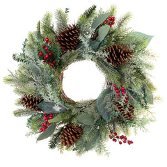 "Winter Frost Decorated Wreath 24"" - Village Lighting Company"
