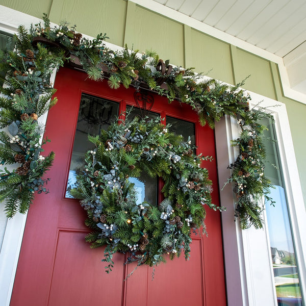 Rustic White Berry Decorated Wreath - Village Lighting Company