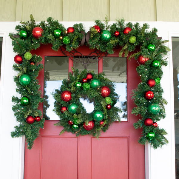 "Christmas Cheer Red and Green Wreath - 24"" (unlit)"