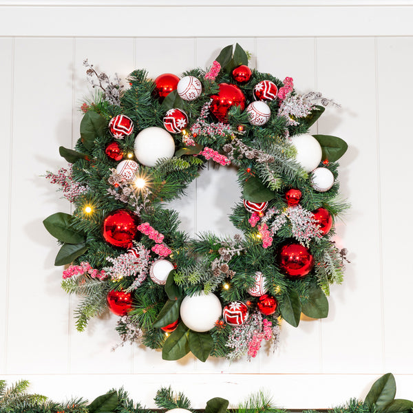 Nordic Red and White Wreath - 30""