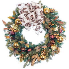 Decorated Wreaths - Gold Berry & Ornament Wreath by Village Lighting Company