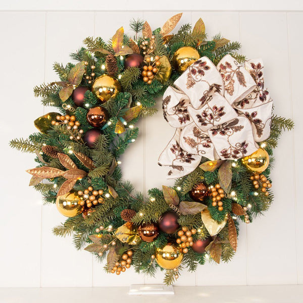 Gold Berry & Ornament Wreath - Village Lighting Company