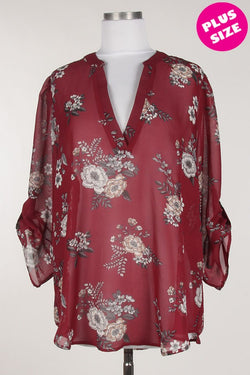 Burgundy V-Neck Wild Flower Blouse