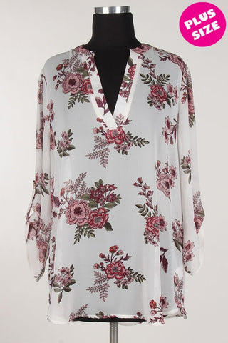White V-Neck Wild Flower Blouse