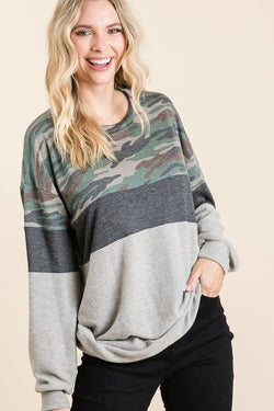 Two Tone Grey and Camo Top
