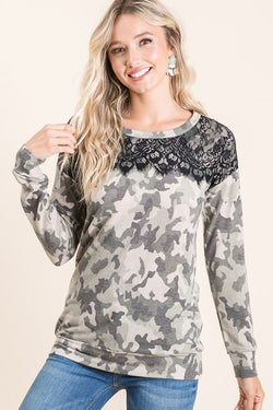 Black Lace & Camo Long Sleeve Top