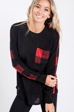 Plaid Color Block Top