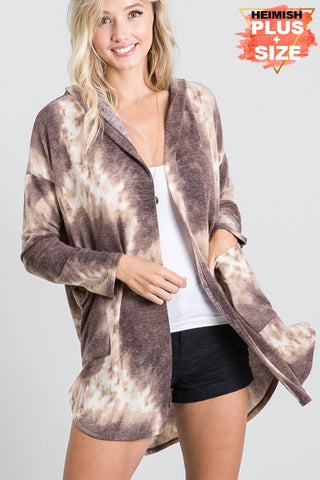 Tie-Dye Hooded Cardigan