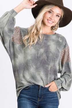 Sequins and Animal Print Shoulder Top