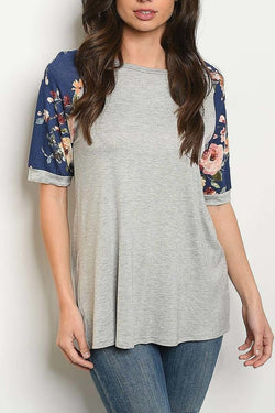 Floral Shoulder Color Block Top