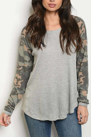 Grey and Camo Color Block Top