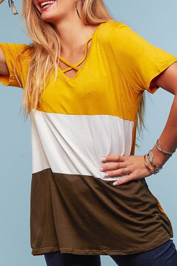 Criss Cross Color Block Tunic