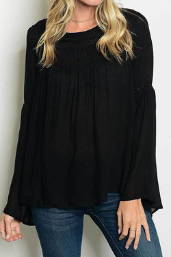 Long Bell Sleeve Top-Black