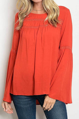 Long Bell Sleeve Top-Rust