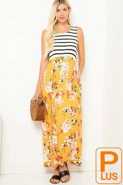 Stripes n' Floral Maxi Dress