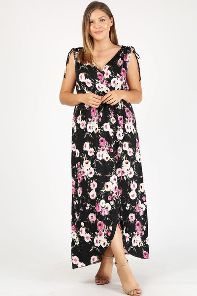 Floral V-Neck Dress (Black)