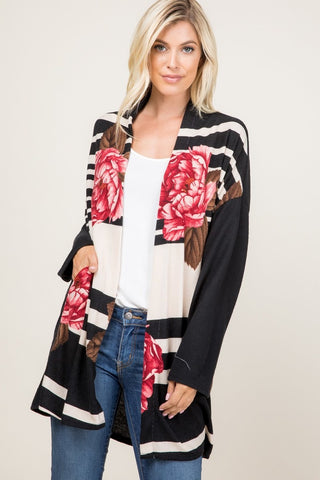 Stripes & Floral Cardigan