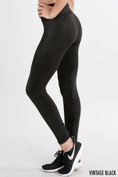 High Waist Vintage Leggings - VINTAGE BLACK