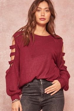 Cut-Out Sleeves Top-Deep Red