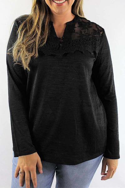 Lace and Button Trim Top