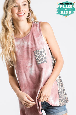 Leopard and Mauve Tie Die Top