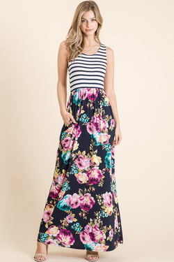 Black Stripes n' Floral Maxi Dress